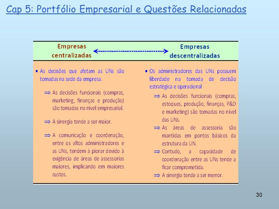 30 Cap 5: Portfólio Empresarial e Questões Relacionadas