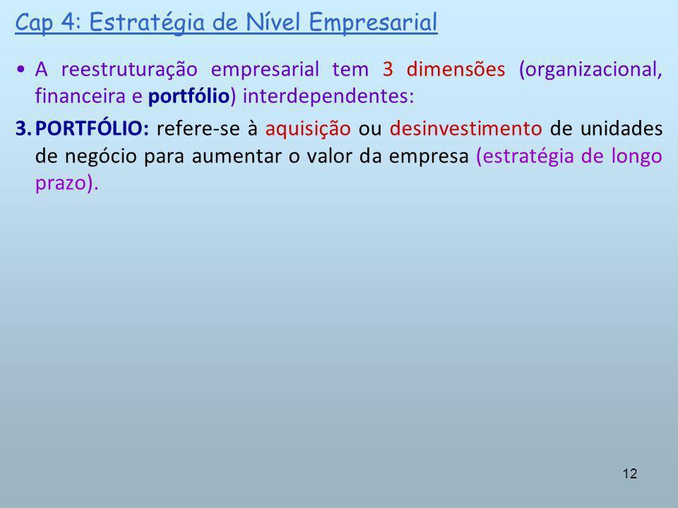 12 Cap 4: Estratégia de Nível Empresarial A reestruturação empresarial tem 3 dimensões (organizacional, financeira e portfólio) interdependentes: 3.PO
