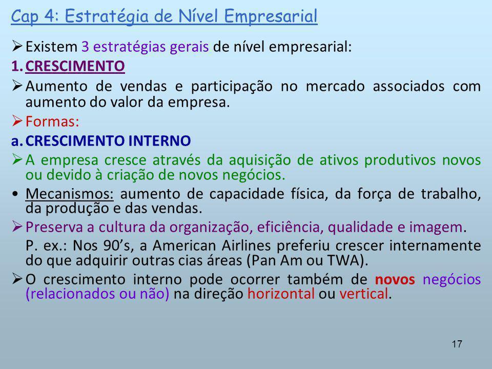17 Cap 4: Estratégia de Nível Empresarial Existem 3 estratégias gerais de nível empresarial: 1.CRESCIMENTO Aumento de vendas e participação no mercado