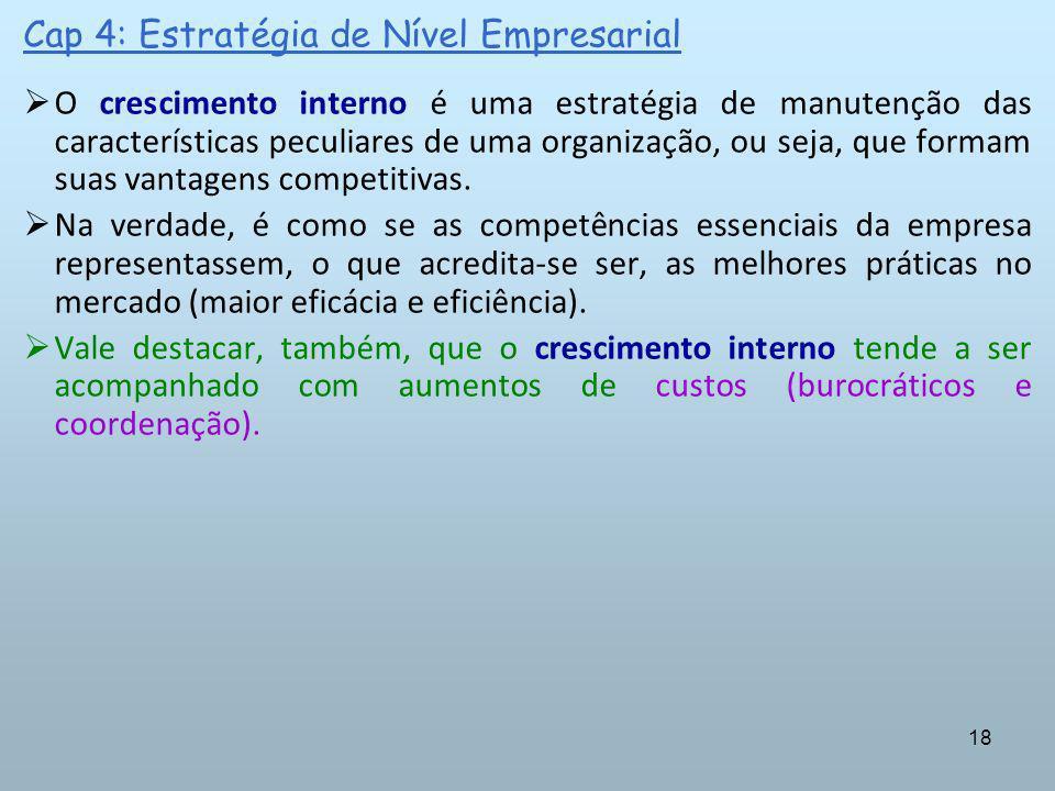 18 Cap 4: Estratégia de Nível Empresarial O crescimento interno é uma estratégia de manutenção das características peculiares de uma organização, ou s