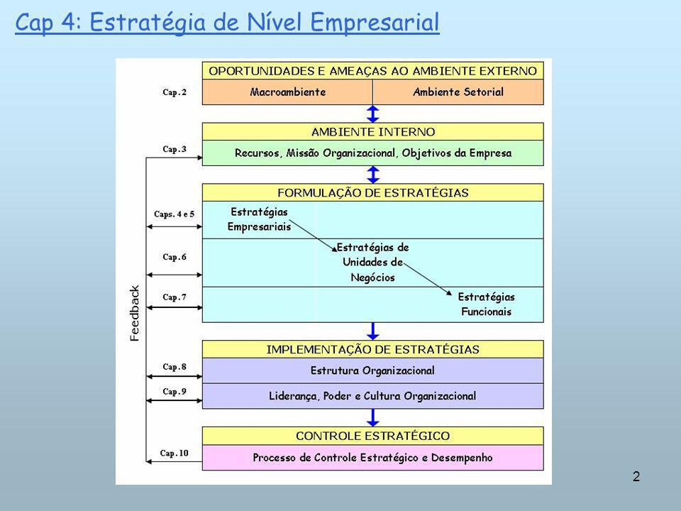 13 Cap 4: Estratégia de Nível Empresarial ALTERNATIVAS ESTRATÉGICAS: Ao competir em um único setor, uma empresa beneficia-se do conhecimento especializado que obtém concentrando-se em área limitada de negócio.