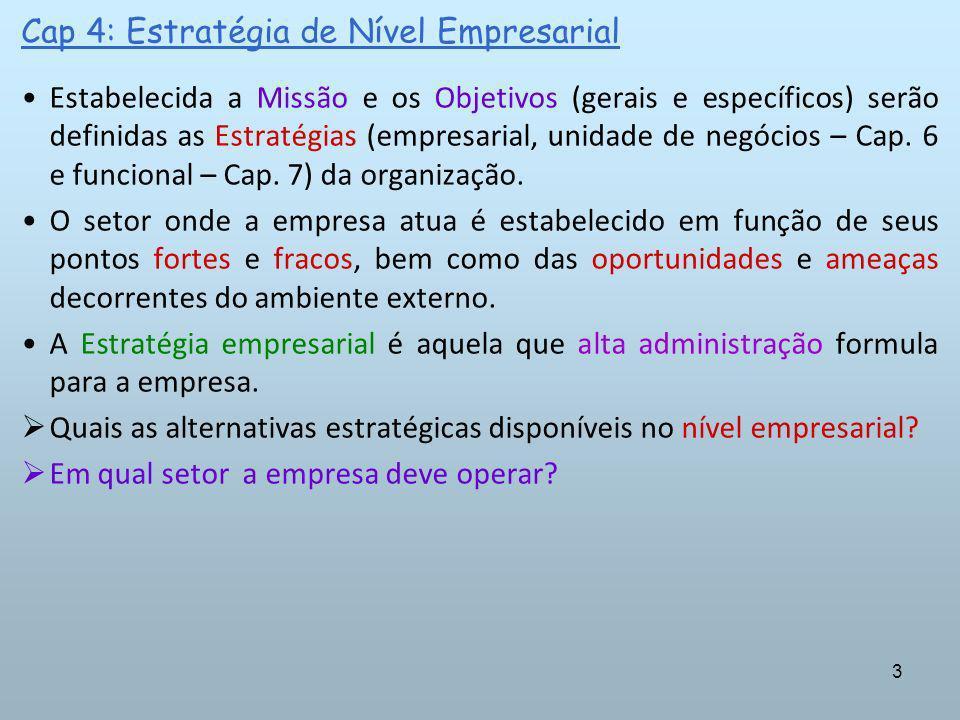 14 Cap 4: Estratégia de Nível Empresarial ALTERNATIVAS ESTRATÉGICAS: No entanto, operar em um único setor pode aumentar a vulnerabilidade da empresa aos ciclos de negócios, ou seja, redução da demanda (denota o caráter dual da especialização).
