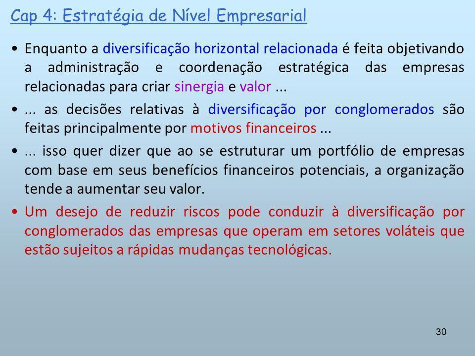 30 Cap 4: Estratégia de Nível Empresarial Enquanto a diversificação horizontal relacionada é feita objetivando a administração e coordenação estratégi