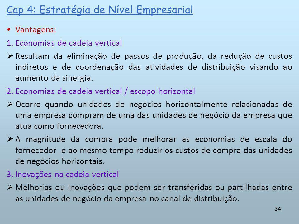 34 Cap 4: Estratégia de Nível Empresarial Vantagens: 1.Economias de cadeia vertical Resultam da eliminação de passos de produção, da redução de custos