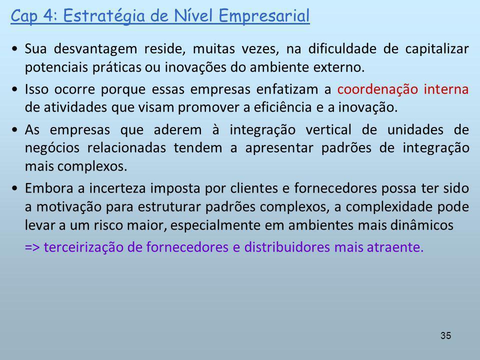 35 Cap 4: Estratégia de Nível Empresarial Sua desvantagem reside, muitas vezes, na dificuldade de capitalizar potenciais práticas ou inovações do ambi