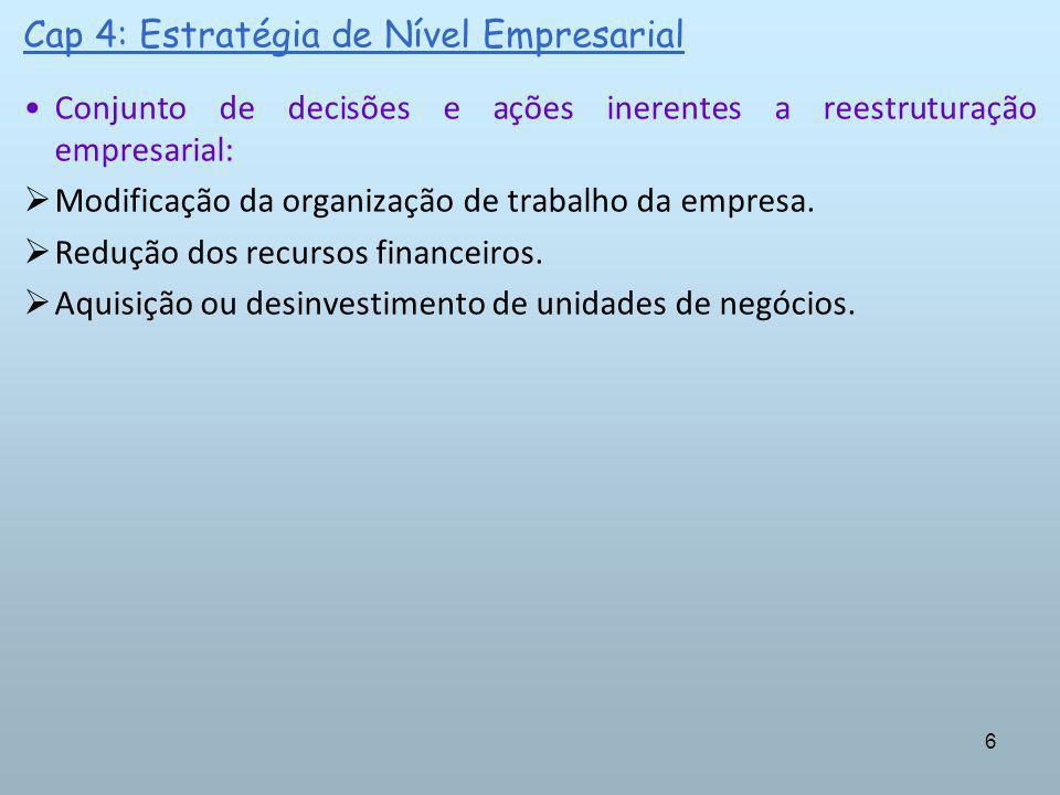 6 Cap 4: Estratégia de Nível Empresarial Conjunto de decisões e ações inerentes a reestruturação empresarial: Modificação da organização de trabalho d