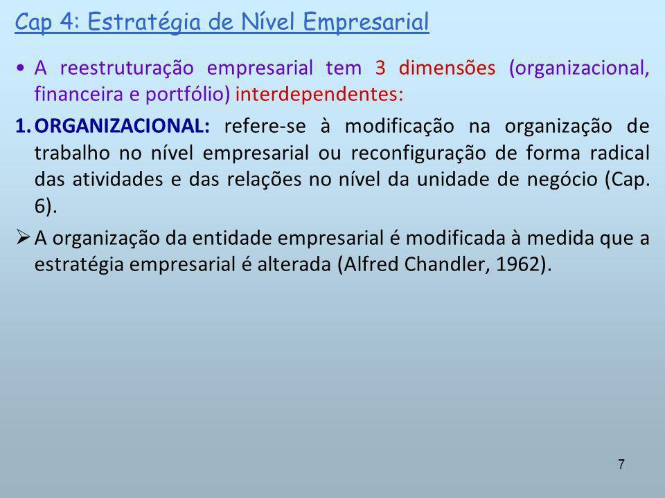 8 Cap 4: Estratégia de Nível Empresarial A reestruturação empresarial tem 3 dimensões (organizacional, financeira e portfólio) interdependentes: A adequação da organização funcional (Cap.