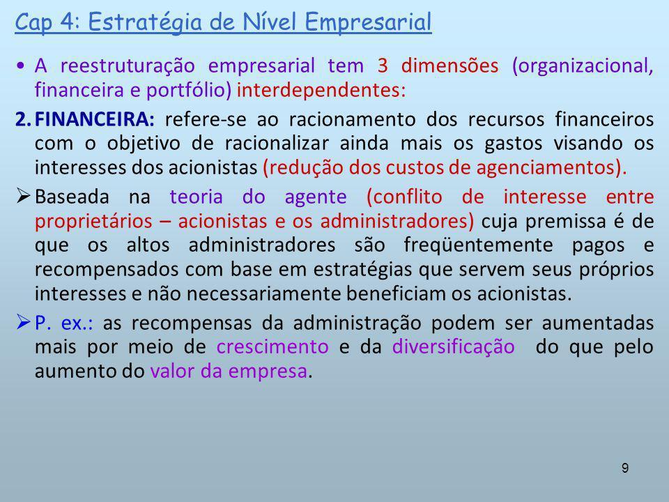 9 Cap 4: Estratégia de Nível Empresarial A reestruturação empresarial tem 3 dimensões (organizacional, financeira e portfólio) interdependentes: 2.FIN