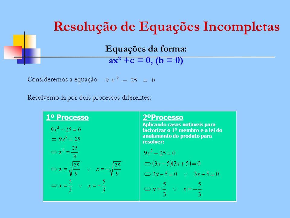 Resolução de Equações Incompletas Equações da forma: ax² +c = 0, (b = 0) Consideremos a equação Resolvemo-la por dois processos diferentes: 1º Process