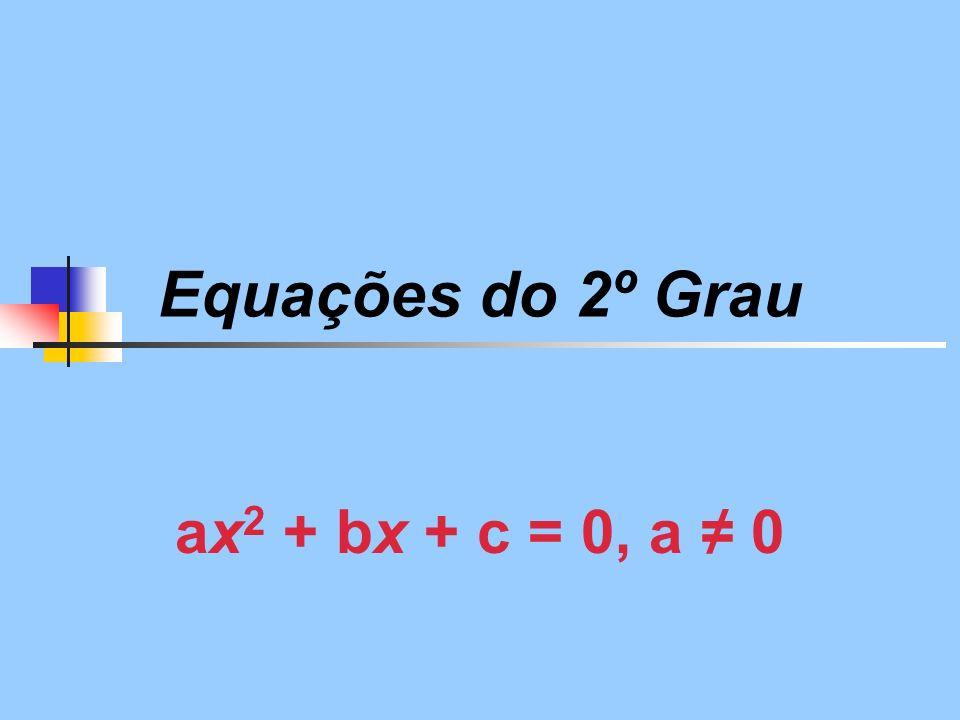 Equações do 2º Grau ax 2 + bx + c = 0, a 0