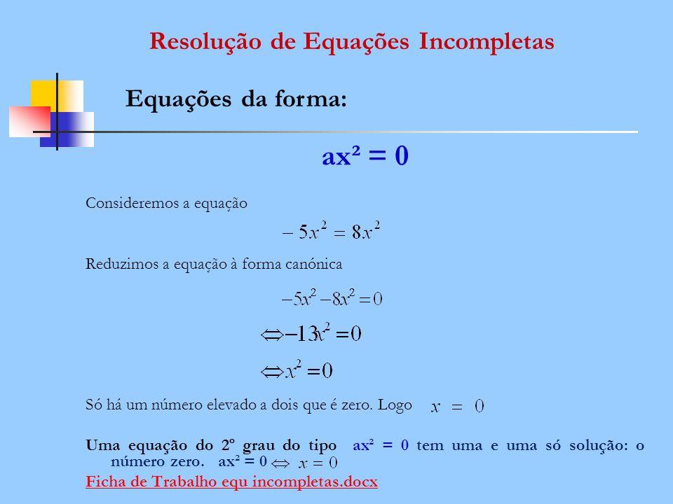 ax² = 0 Consideremos a equação Reduzimos a equação à forma canónica Só há um número elevado a dois que é zero. Logo Uma equação do 2º grau do tipo ax²