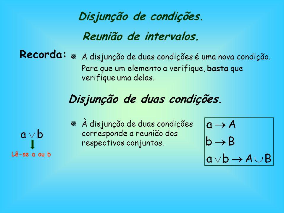 Disjunção de condições. Reunião de intervalos.