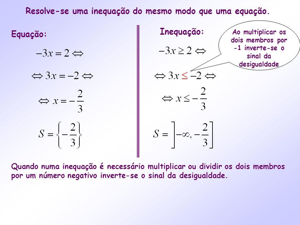 Equação: Inequação: Quando numa inequação é necessário multiplicar ou dividir os dois membros por um número negativo inverte-se o sinal da desigualdad