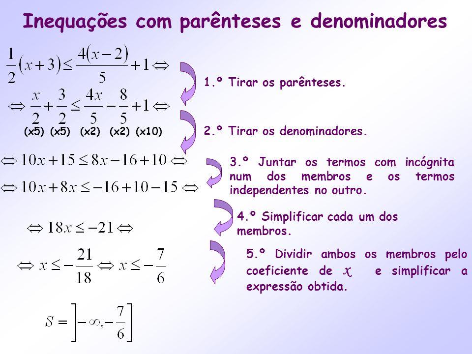 Inequações com parênteses e denominadores 4.º Simplificar cada um dos membros. 5.º Dividir ambos os membros pelo coeficiente de x e simplificar a expr