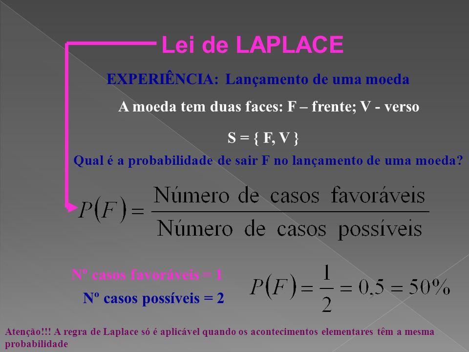 Modos de definir probabilidade de um acontecimento Lei de LAPLACE 1749 - 1827 Definição clássica de probabilidade