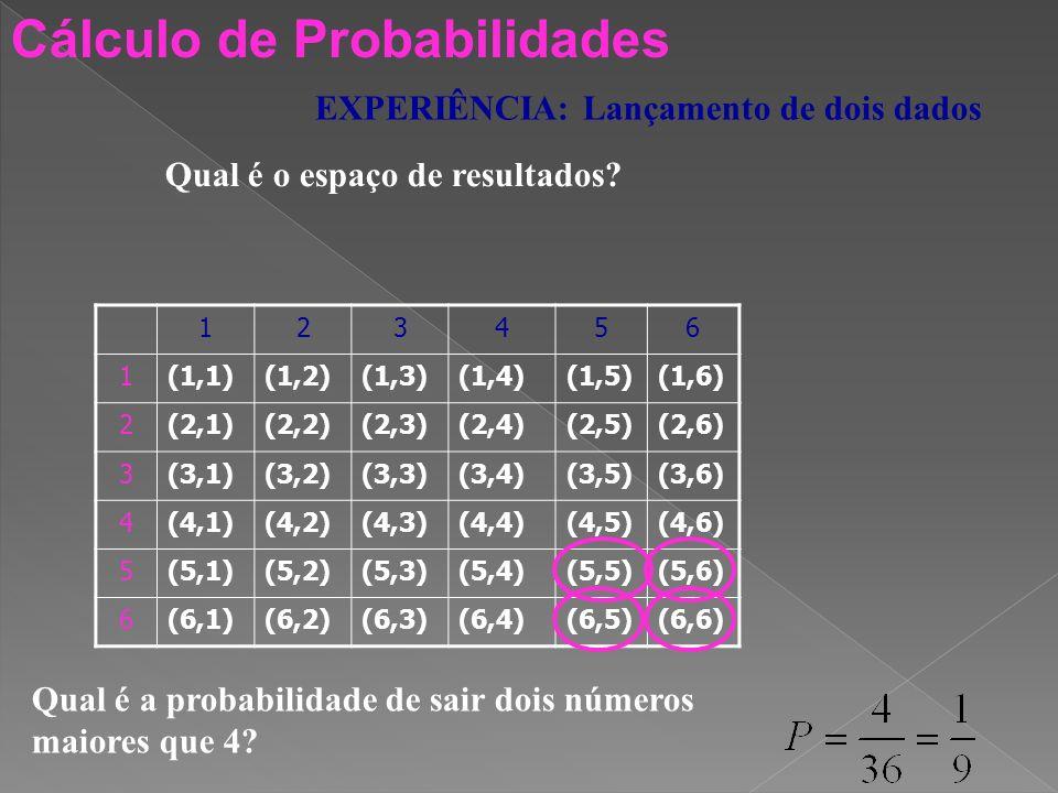 Cálculo de Probabilidades EXPERIÊNCIA: Lançamento de um dado equilibrado Calcula a probabilidade de cada um dos acontecimentos: A: Sair o número 5 1)