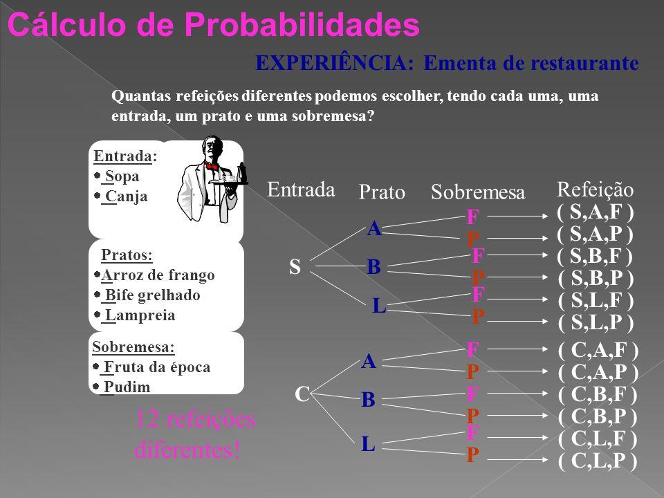 Cálculo de Probabilidades EXPERIÊNCIA: Lançamento de dois dados 123456 1(1,1)(1,2)(1,3)(1,4)(1,5)(1,6) 2(2,1)(2,2)(2,3)(2,4)(2,5)(2,6) 3(3,1)(3,2)(3,3