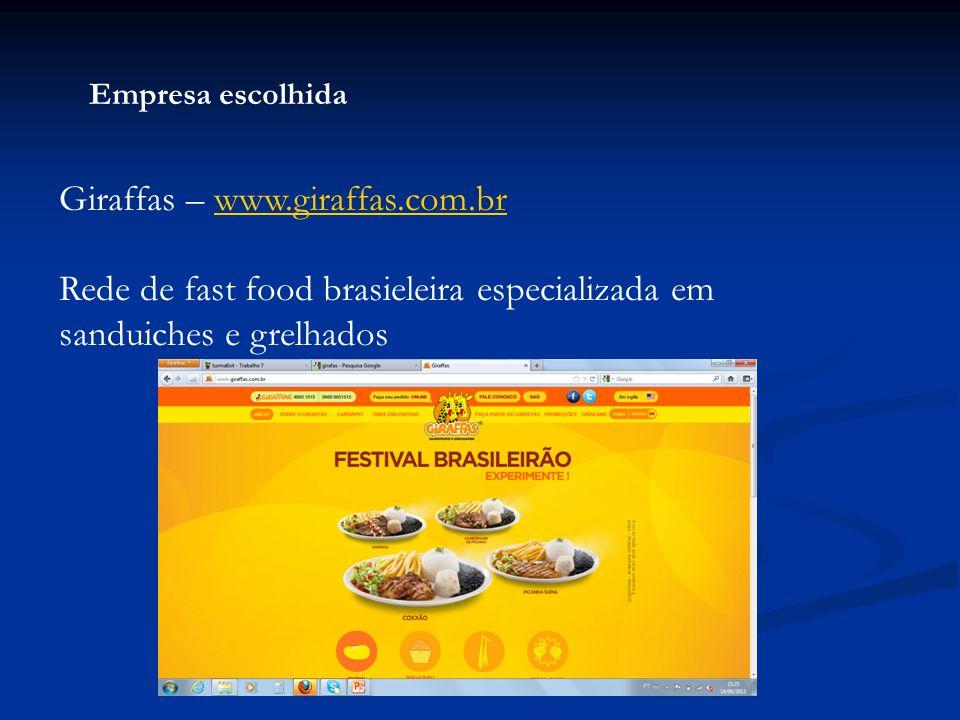 Empresa escolhida Giraffas – www.giraffas.com.brwww.giraffas.com.br Rede de fast food brasieleira especializada em sanduiches e grelhados