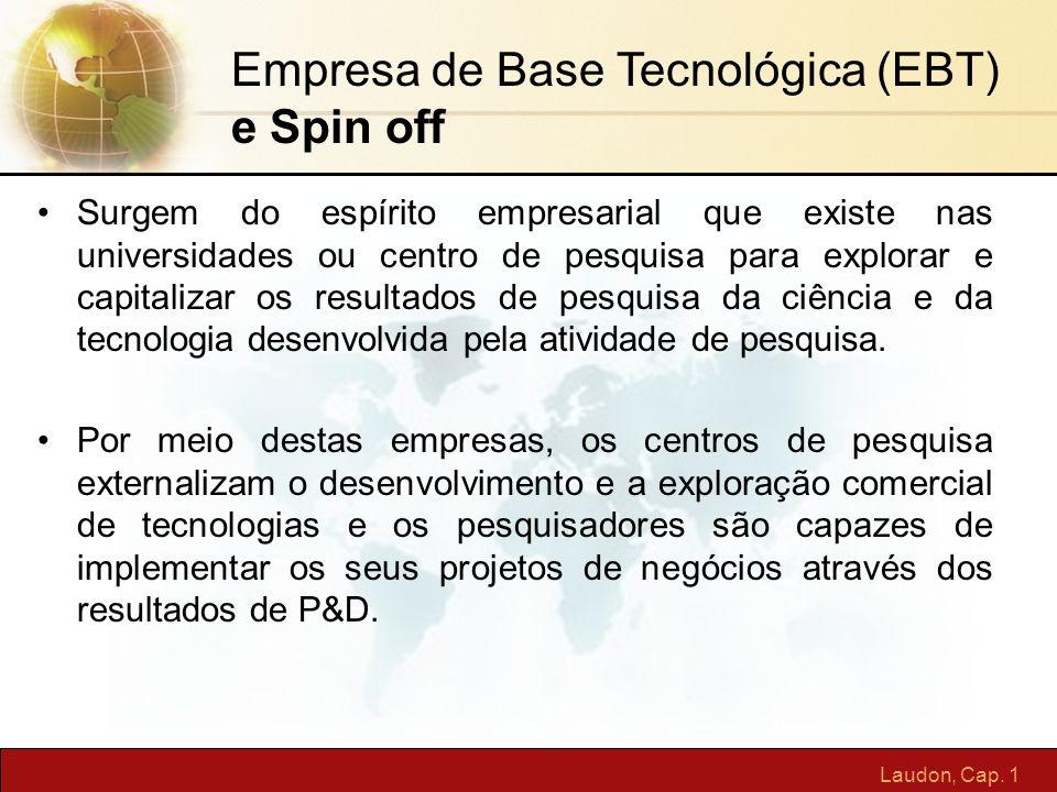 Laudon, Cap. 1 Surgem do espírito empresarial que existe nas universidades ou centro de pesquisa para explorar e capitalizar os resultados de pesquisa