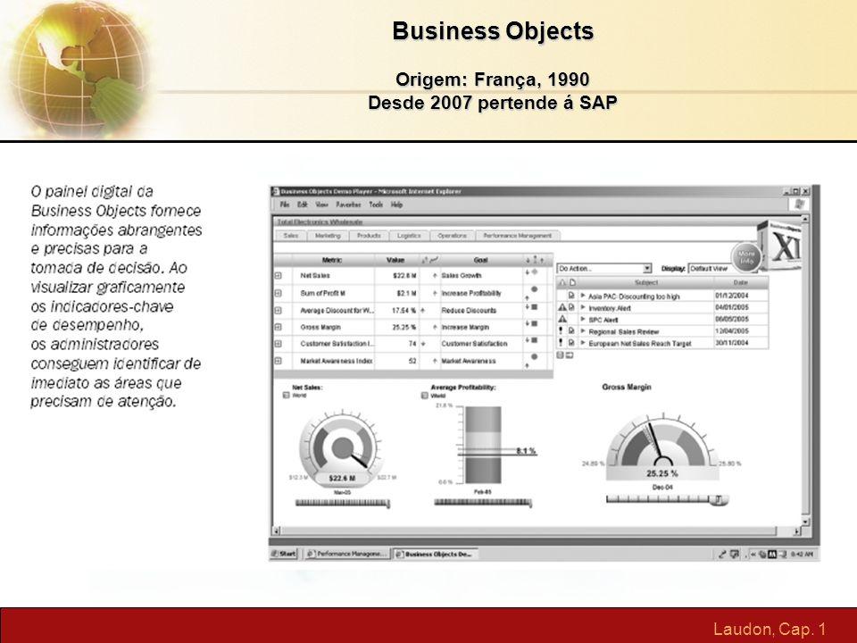 Laudon, Cap. 1 Business Objects Origem: França, 1990 Desde 2007 pertende á SAP