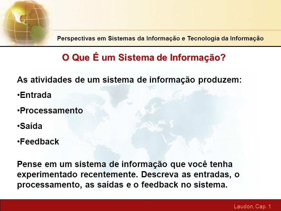 Laudon, Cap. 1 O Que É um Sistema de Informação? As atividades de um sistema de informação produzem: Entrada Processamento Saída Feedback Pense em um