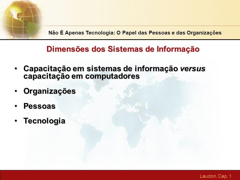 Laudon, Cap. 1 Não É Apenas Tecnologia: O Papel das Pessoas e das Organizações Capacitação em sistemas de informação versus capacitação em computadore