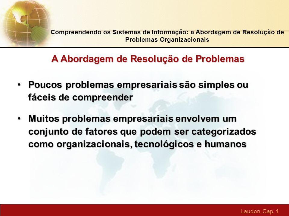 Laudon, Cap. 1 Compreendendo os Sistemas de Informação: a Abordagem de Resolução de Problemas Organizacionais Poucos problemas empresariais são simple