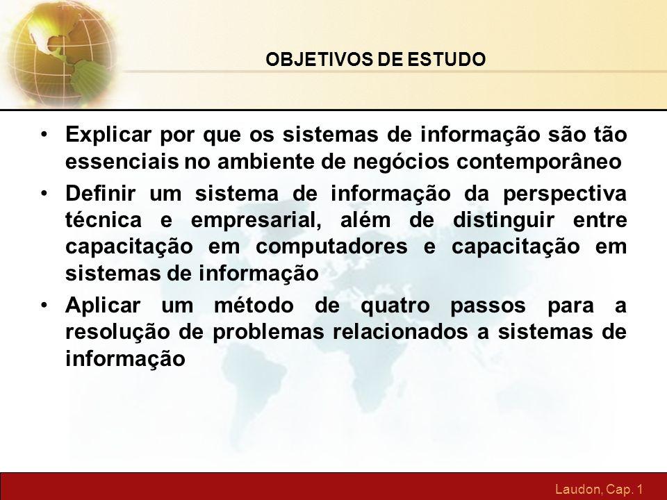 Laudon, Cap. 1 Explicar por que os sistemas de informação são tão essenciais no ambiente de negócios contemporâneo Definir um sistema de informação da