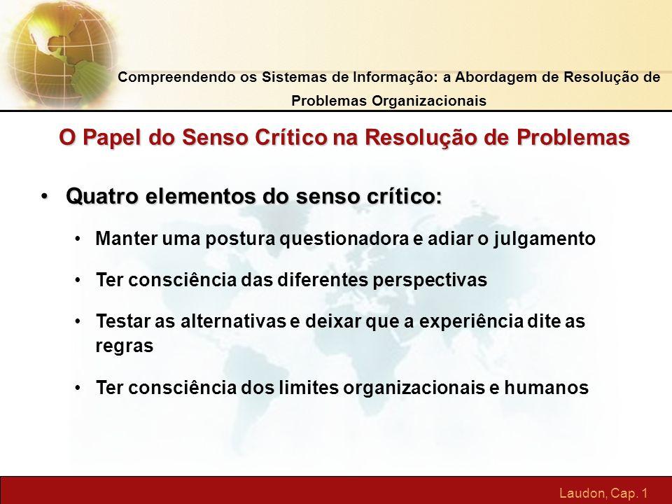 Laudon, Cap. 1 Quatro elementos do senso crítico:Quatro elementos do senso crítico: Manter uma postura questionadora e adiar o julgamento Ter consciên