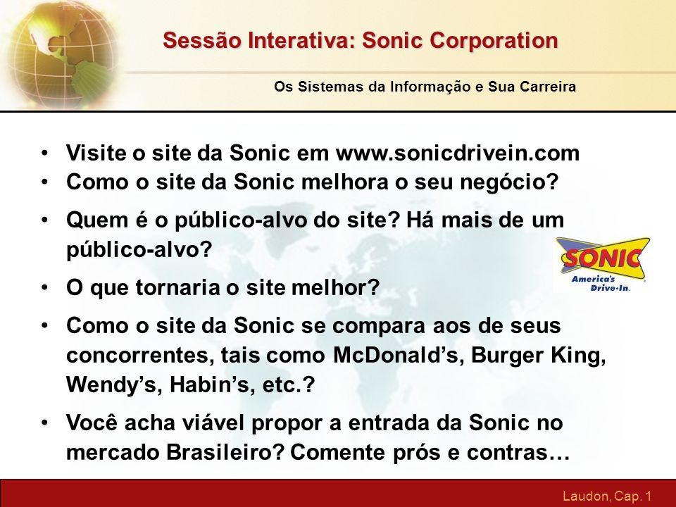 Laudon, Cap. 1 Sessão Interativa: Sonic Corporation Visite o site da Sonic em www.sonicdrivein.com Como o site da Sonic melhora o seu negócio? Quem é