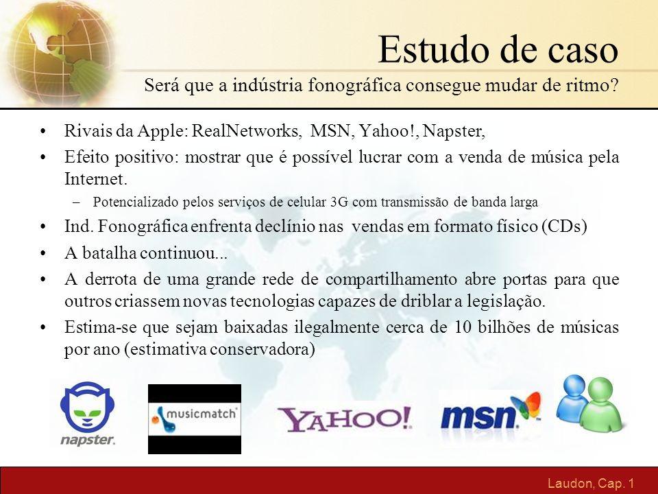 Laudon, Cap. 1 Estudo de caso Será que a indústria fonográfica consegue mudar de ritmo? Rivais da Apple: RealNetworks, MSN, Yahoo!, Napster, Efeito po