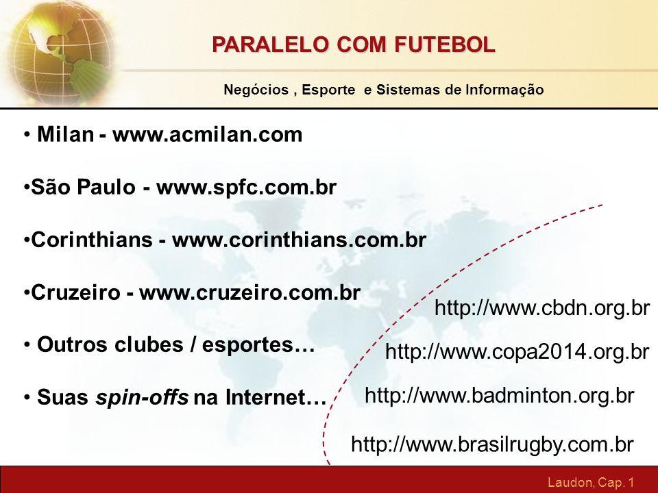Laudon, Cap. 1 Milan - www.acmilan.com São Paulo - www.spfc.com.br Corinthians - www.corinthians.com.br Cruzeiro - www.cruzeiro.com.br Outros clubes /