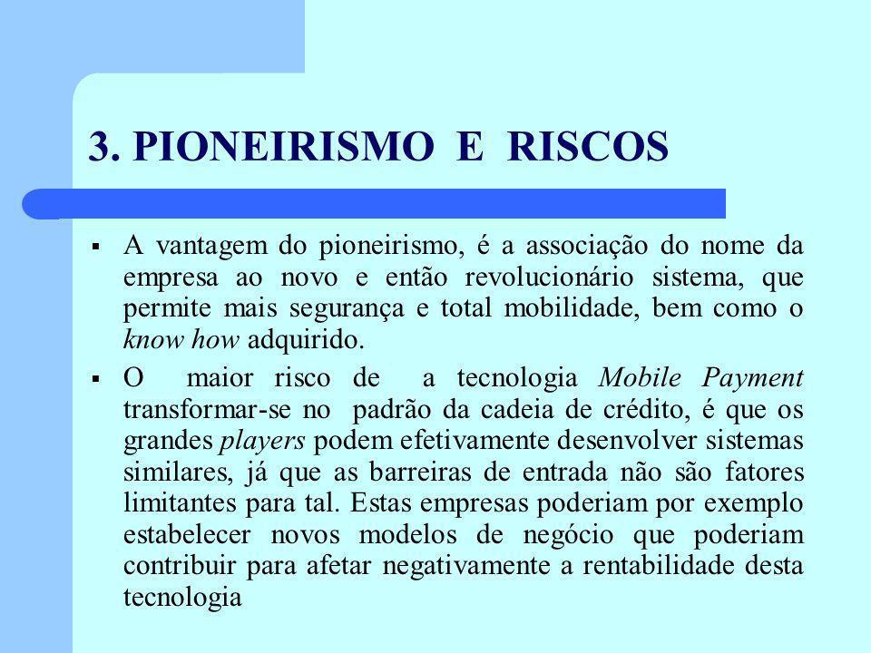 3. PIONEIRISMO E RISCOS A vantagem do pioneirismo, é a associação do nome da empresa ao novo e então revolucionário sistema, que permite mais seguranç