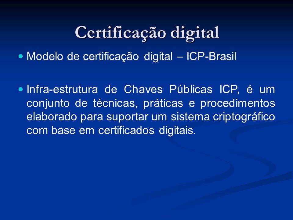 Certificação digital Modelo de certificação digital – ICP-Brasil Infra-estrutura de Chaves Públicas ICP, é um conjunto de técnicas, práticas e procedi