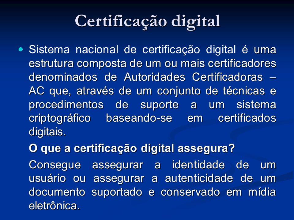 uma estrutura composta de um ou mais certificadores denominados de Autoridades Certificadoras – AC que, através de um conjunto de técnicas e procedimentos de suporte a um sistema criptográfico baseando-se em certificados digitais.