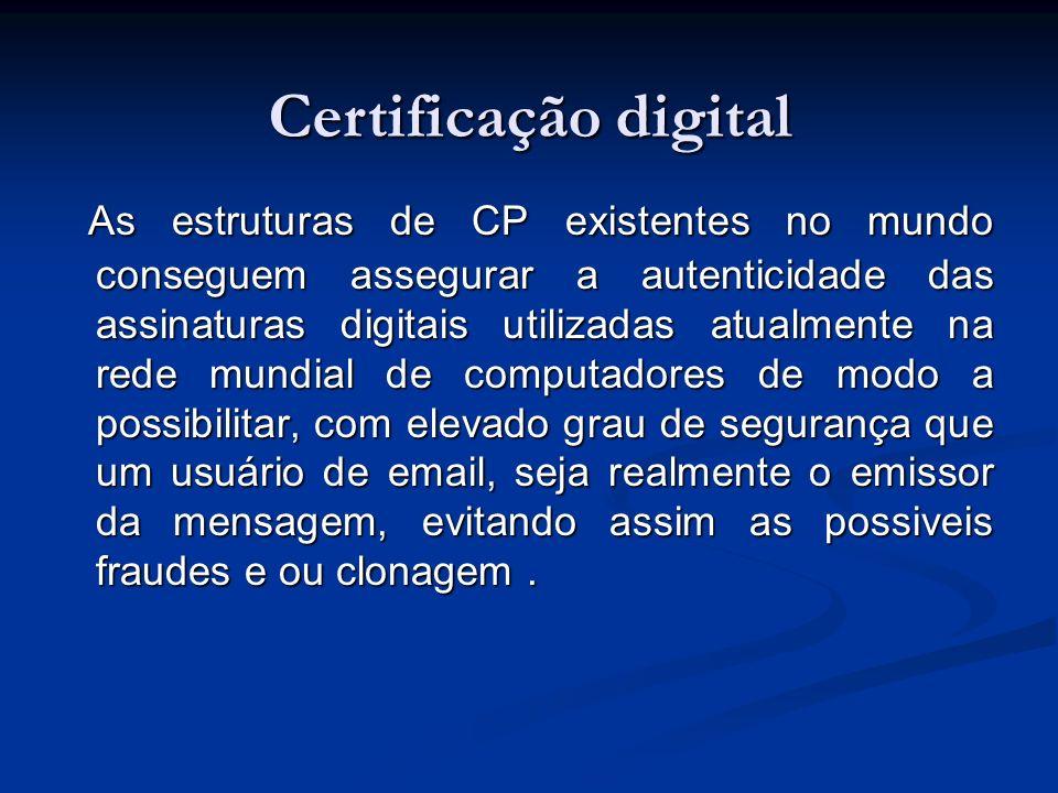 Assinatura digital A Assinatura Digital é o único meio legalmente aceito para que as pessoas possam assinar documentos eletrônicos com a mesma validade jurídica de sua assinatura manual.