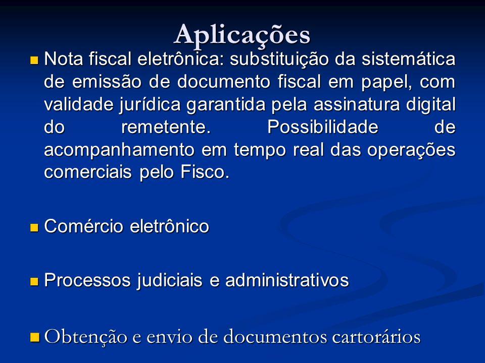 Aplicações Nota fiscal eletrônica: substituição da sistemática de emissão de documento fiscal em papel, com validade jurídica garantida pela assinatur