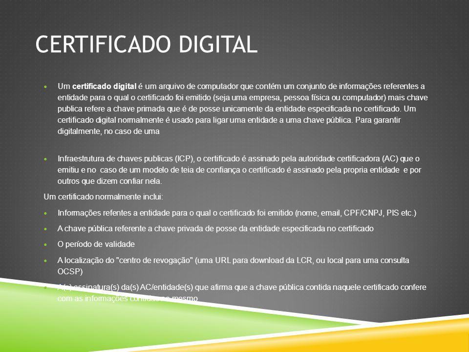 VALOR DA ASSINATURA DIGITAL A entidade que deseja emitir o certificado gera um par de chaves criptográficas (uma chave pública e uma chave privada).