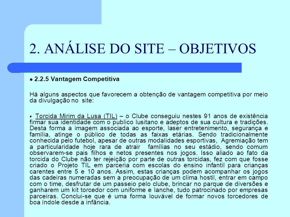 2. ANÁLISE DO SITE – OBJETIVOS 2.2.5 Vantagem Competitiva Há alguns aspectos que favorecem a obtenção de vantagem competitiva por meio da divulgação n