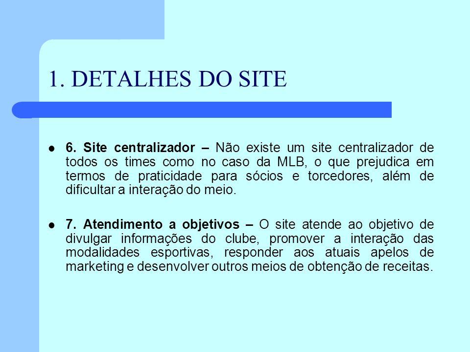 1. DETALHES DO SITE 6. Site centralizador – Não existe um site centralizador de todos os times como no caso da MLB, o que prejudica em termos de prati