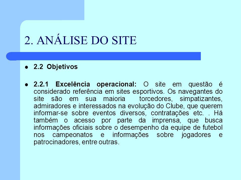 2. ANÁLISE DO SITE 2.2 Objetivos 2.2.1 Excelência operacional: O site em questão é considerado referência em sites esportivos. Os navegantes do site s