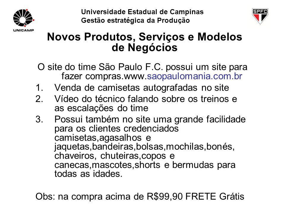 O site do time São Paulo F.C. possui um site para fazer compras.www.saopaulomania.com.br 1.Venda de camisetas autografadas no site 2.Vídeo do técnico