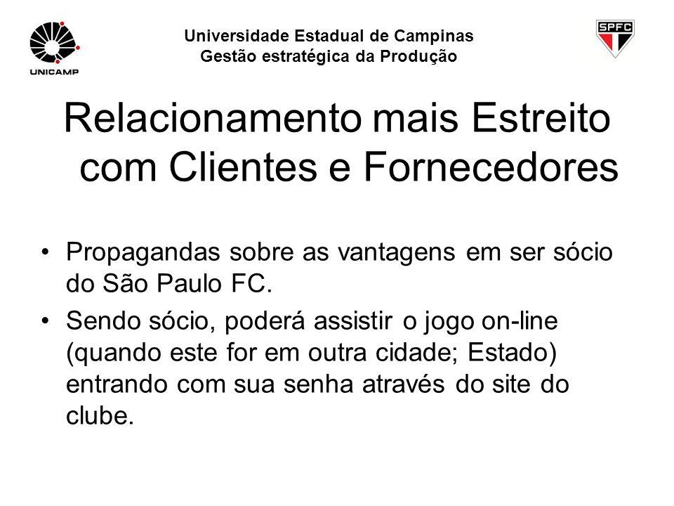 Relacionamento mais Estreito com Clientes e Fornecedores Propagandas sobre as vantagens em ser sócio do São Paulo FC. Sendo sócio, poderá assistir o j