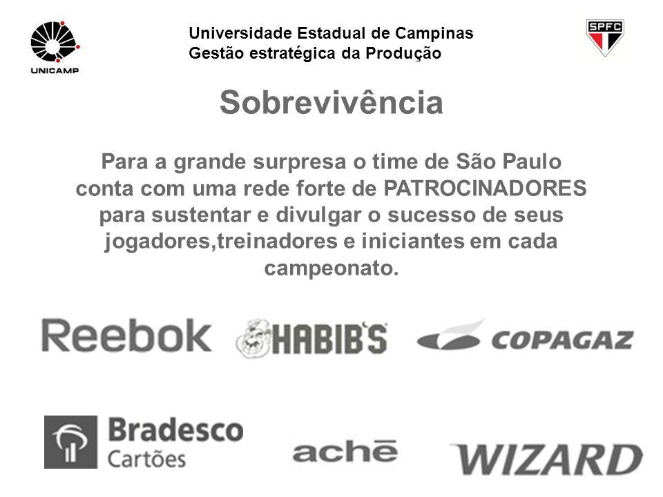 Sobrevivência Para a grande surpresa o time de São Paulo conta com uma rede forte de PATROCINADORES para sustentar e divulgar o sucesso de seus jogado