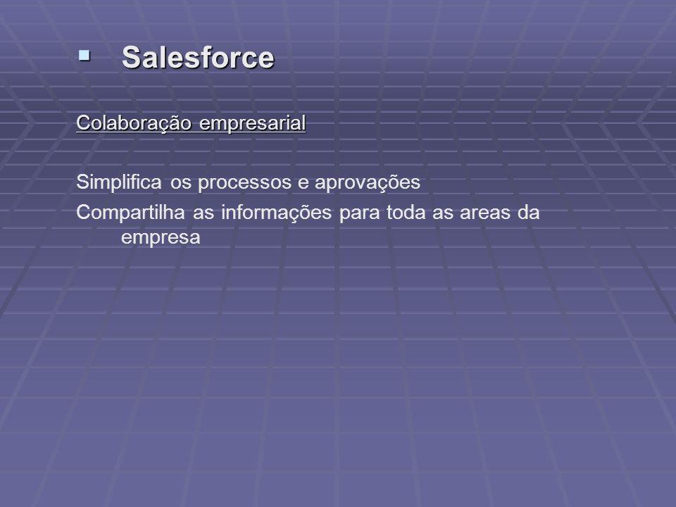 Salesforce Salesforce Colaboração empresarial Simplifica os processos e aprovações Compartilha as informações para toda as areas da empresa