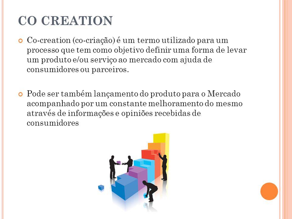 CO CREATION Co-creation (co-criação) é um termo utilizado para um processo que tem como objetivo definir uma forma de levar um produto e/ou serviço ao
