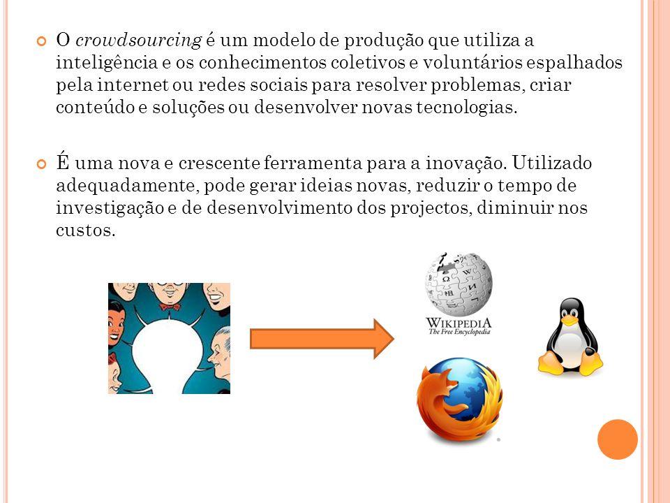 O crowdsourcing é um modelo de produção que utiliza a inteligência e os conhecimentos coletivos e voluntários espalhados pela internet ou redes sociai