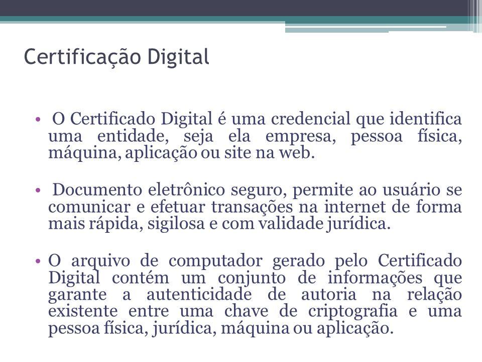 Certificação Digital O Certificado Digital é uma credencial que identifica uma entidade, seja ela empresa, pessoa física, máquina, aplicação ou site n