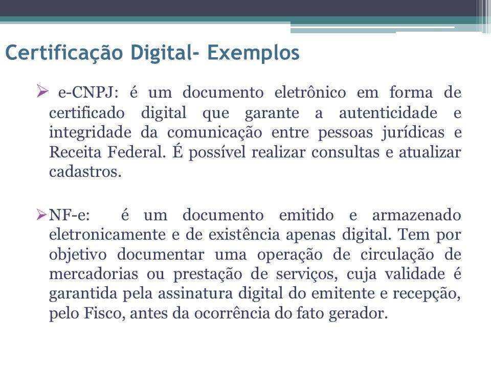 e-CNPJ: é um documento eletrônico em forma de certificado digital que garante a autenticidade e integridade da comunicação entre pessoas jurídicas e R
