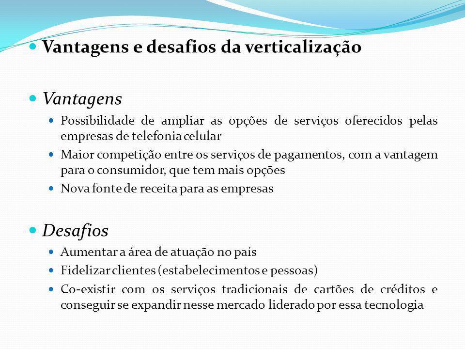 Vantagens e desafios da verticalização Vantagens Possibilidade de ampliar as opções de serviços oferecidos pelas empresas de telefonia celular Maior c